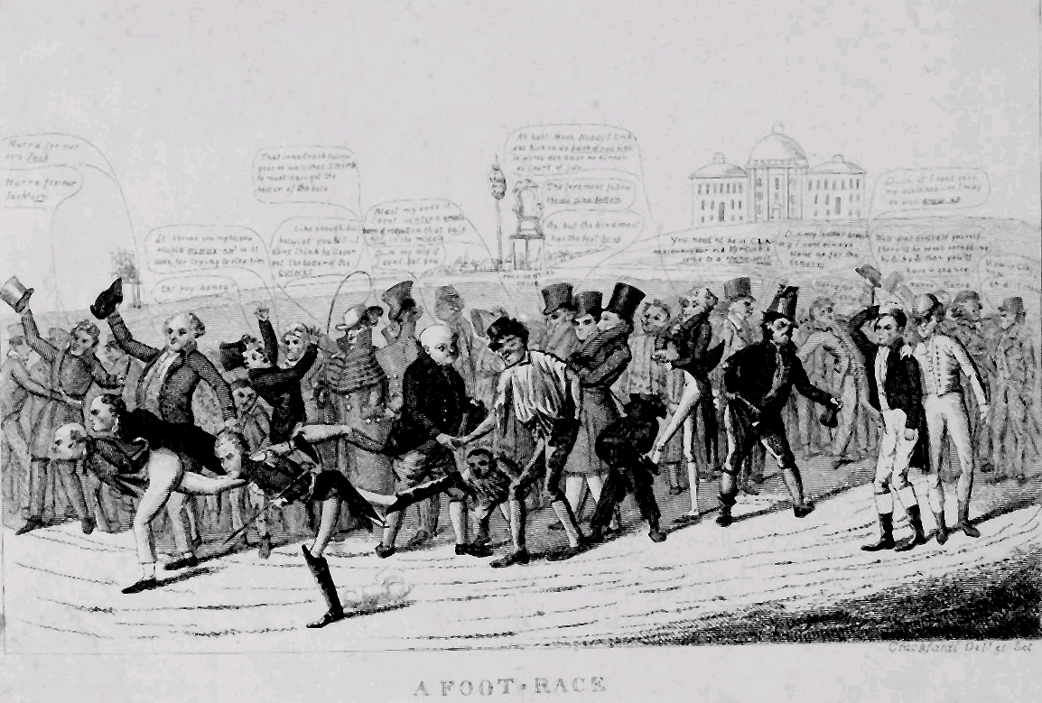 free materials a foot race election of 1828 political cartoon